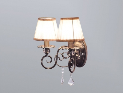 Бра Newport Античная бронза 2102/A Antique bronze Clear crystal Shade beige