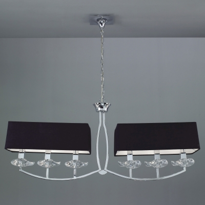 Подвесная люстра Mantra Akira Pantalla Negra Pendant 6 lights 0781 Chrome